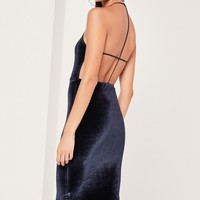 Missguided - Velvet Strappy Back Midi Dress Navy