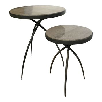 Tripod Contemporary Round Accent Table With Grey Marble Top - Small by Global Views