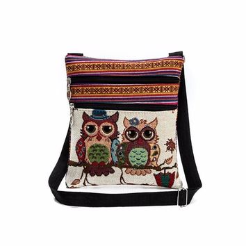 New vintage embroidery Women Shoulder Bags Cartoon Owl Printed handbag Small crossbody bags for women bolsos mujer#DEQ