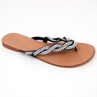 Amazon.com: Jones Woven Sparkle Strap Sandals By L&C. Thong Flip Flops in Black, White, Brown, Gold, Silver, Pink: Shoes