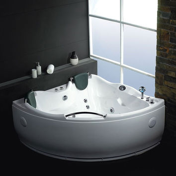 EAGO AM125  5' Double Corner Acrylic White Whirlpool Bathtub