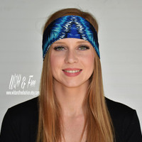 Yoga headband, Wide boho headband, Blue and black headband, Ladies fashion headwrap, Workout Fitness Headband,Womens stretch fabric headband
