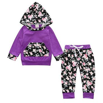 2 Pcs Baby Girls Hoodie Outfit Sets - 13 Different Color and Design Options!