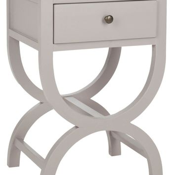 Maxine Accent Table With Storage Drawer Quartz Grey