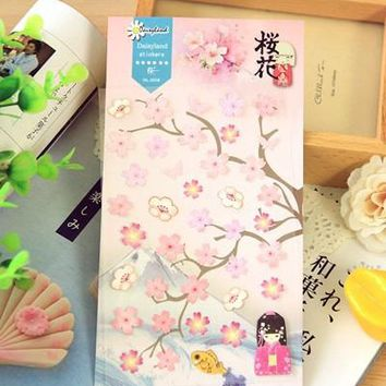 1pcs/pack New Japan Pink series Romantic cherry blossoms paper sticker DIY multifunctionStationery Office school supplies