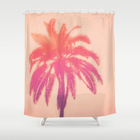 Salmon Palm - Shower Curtain, Pink Palm Tree Bath Decor, Tropical Beach Surf Bohemian Chic Home Accent, Hanging Tub Curtain. In 71x74 Inches