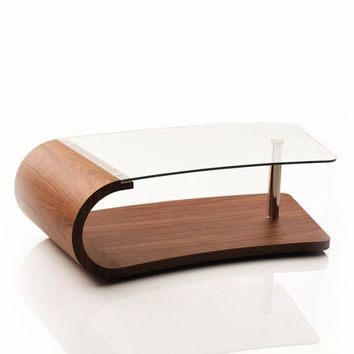 Modrest Wren Modern Walnut and Glass Coffee Table
