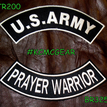 Military Patch Set U.S. Army Prayer Warrior Embroidered Patches Sew on Patches for Jackets