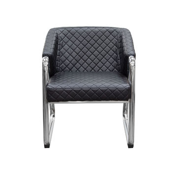 Retro Accent Chair with Diamond Tufted Quilt and Chrome Frame by Diamond Sofa - Black