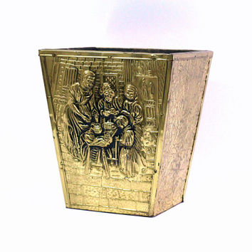Fancy Gold Trash Can | Waste Can for Bath or Bedroom Gold Morning Glories Design Made in England | Metal Plate Wooden Waste Bin