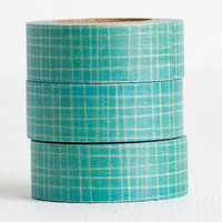 Teal Grid Washi Tape, Simple Pattern Teal and White Decorative Tape 15mm x 10m