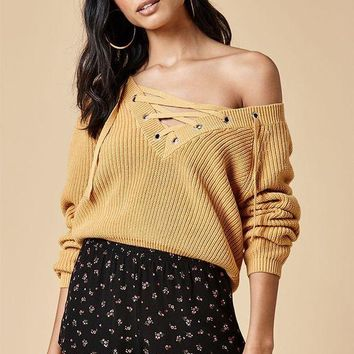 ONETOW Kendall and Kylie Lace-Up Cropped Sweater at PacSun.com