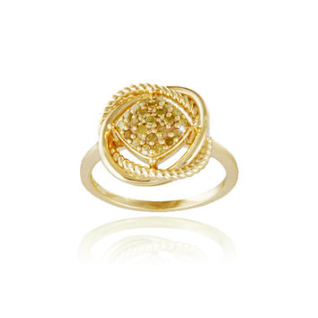 18K Gold over Sterling Silver Yellow Diamond Love Knot Ring Size 7
