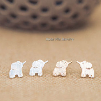 Elephant Earrings - Gold and Silver; cute and simple elephant stud earrings; minimalist animal studs;