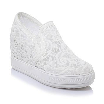 Women's High-heeled Lace Platform Wedges Casual Shoes