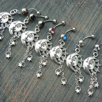 Celestial belly ring sun and moon belly ring COOSE ONE  moon goddess sun moon stars gypsy hippie boho and hipster  new age style