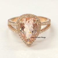 8x12mm Pear Cut Pink Morganite Diamond Engagement Ring Halo in 14K Rose Gold 0.35ctw