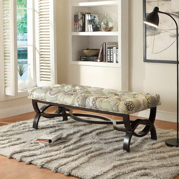 Home Elegance 4768FA-1S Marlena collection espresso finish wood base with purple medallion print linen like fabric upholstered bedroom bench