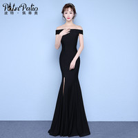 PotN'Patio Elegant Black Evening Dresses Long 2017 New Off The Shoulder Sexy Slit Mermaid Prom Dresses