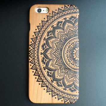 Natural Cherry Wood iPhone 6 plus case Painted iPhone Case - Black Lace