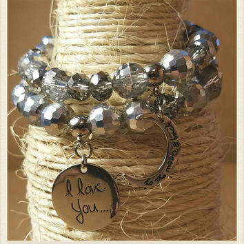 I Love You To The Moon And Back Charm Bracelet Set / Friendship Matching Bracelets / Mother Daughter Matching Bracelets / Gift For Her