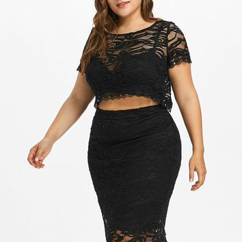 Plus Size Lace Skirt and Crop Top Set