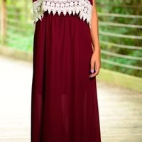 Game Day Burgandy and White Lace detail Maxi