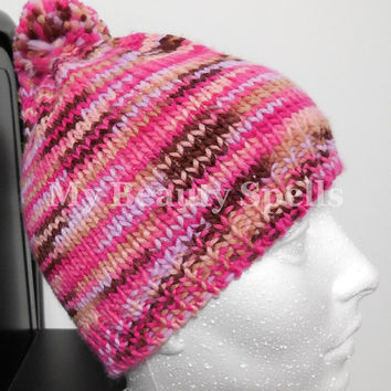 Winter hat for womens, Hand Knit Beanie, knit hats for womens with Pom Pom, Slouchy knitted hats