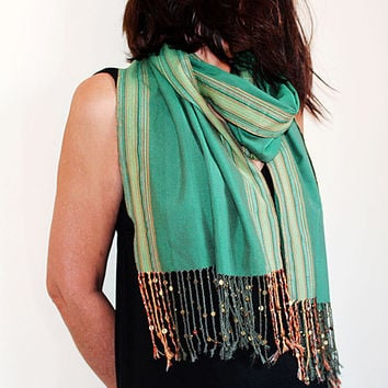 Emerald Green Tribal Cotton Scarf ,  Bohemian , Sequin Tassels, Unique Scarf, Holidays Scarf, Women Scarves, Women Accessories