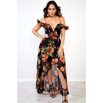 Mila Red Black Floral Print Plunging Off Shoulder High Low Maxi Dress