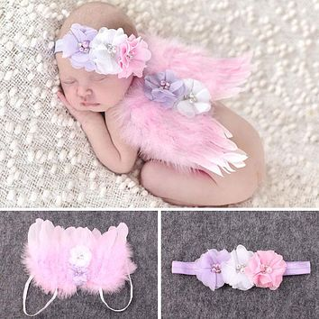 Baby Newborn Photography Props Accessories Crochet Knit Costume Beaded Cap Headband Baby Photo Infant Prop Outfits