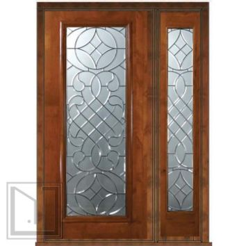 Prehung Side light Door 80 Wood Alder Savoy Full Lite Glass