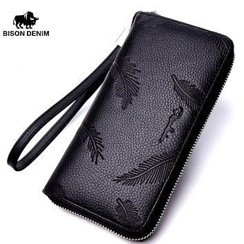 Fashion Cowhide Leather Long Wallet Male Zipper Clutch Men's Wallet Anti-Theft Phone Holder Long Coin Purse