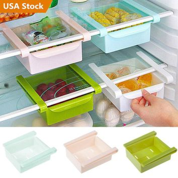 Slide Kitchen Refridgerator Fridge Space Saver Organizer Storage Rack Holder