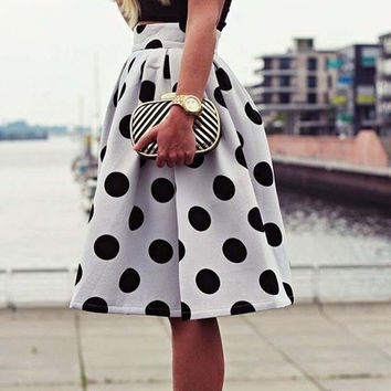 Polka Dot High Waist Pleated Skirt = 1946028036