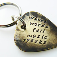 "Hand Stamped & Antiqued Copper Guitar Pick Keychain - ""Where words fail music speaks"" key chain with name / date"