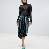 River Island Premium Embellished Wrap Pencil Skirt at asos.com
