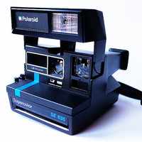 POLAROID Supercolor SE 635 Black Instant Camera Blue Stripe Vintage 80s Retro Spirit 600 Type Super Color Strap Tested and Working With BOX