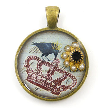 Crown Pendant - Black Bird Raven Jeweled Pearl Garnet Mixed Media Jewelry Charm