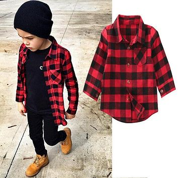 Cute Baby Kids Boys Girls Long Sleeve Shirt Plaids Checks Tops Blouse 2017 New Fashion Clothes