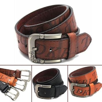 Hot Sale Trend Fashion Male Jeans Perfect Match Pin Buckle Genuine PU Leather Strap All-Match Belt Free Shipping!Q60