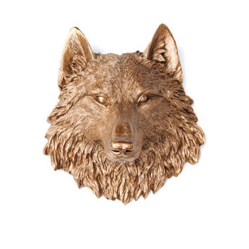 Miniature Bronze Wolf Wall Mount - Faux Taxidermy MW09