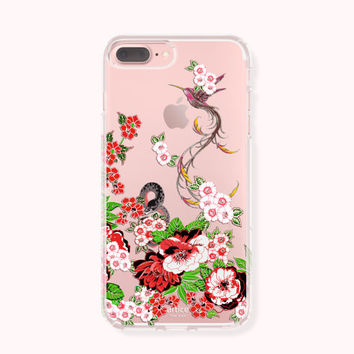 Floral iPhone 7 Case,iPhone 7 Plus Case,iPhone 6/6S Case,iPhone 6/6S Plus Case,iPhone 5/5S/SE Case,SAMSUNG Galaxy Case- Hummingbird & flower