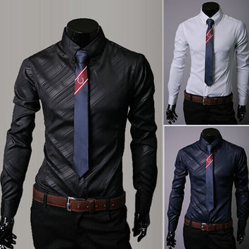HOT Sale New 2015 High Quality Mens Designer Stripes Dress Shirts Tops Casual Slim Long Shirts 9 colors No tie Free Shipping