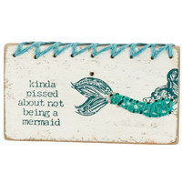 Not A Mermaid Stitched Wood Block Magnet
