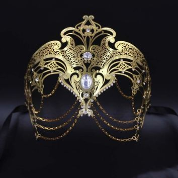 Wedding Party Mask Women Chain Venetian Metal Laser Cut Prom Opera Masquerade Cosplay Phantom Masks