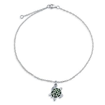 Green Turtle Nautical Dangle Charm Anklet 925 Sterling Silver