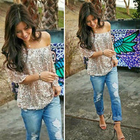 Womens Sequined Bling Shiny Top Casual Loose Shirt Off The Shoulder T-Shirts