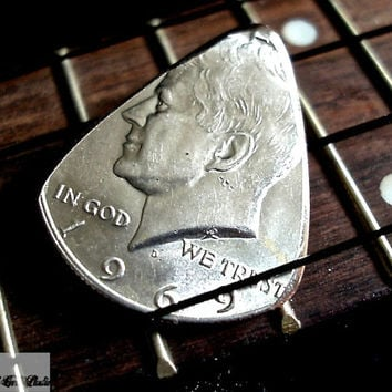 Silver Coin Guitar Pick -- 1969 Kennedy Half Dollar Guitar Pick