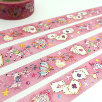 Princess horse tape 5M fancy fairy tale washi tape playing card wonderland deco sticker tape japanese masking tape removable adhesive tape